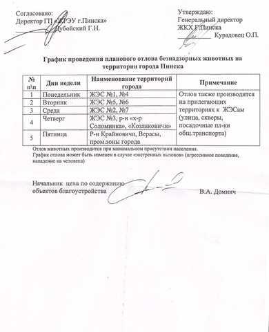 График проведения планового отлова безнадзорных животных на территории города Пинска.